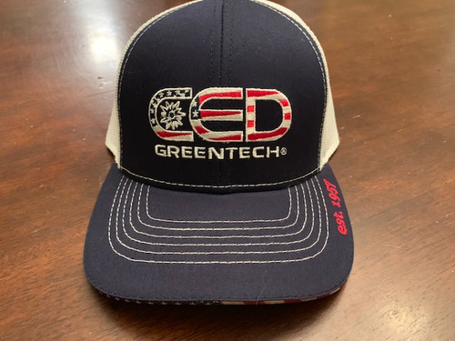 CED Greentech Navy White Mesh Embroidered Flag Hat