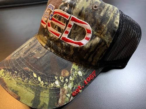 CED Mossy Oak Black Mesh Embroider Flag Hat