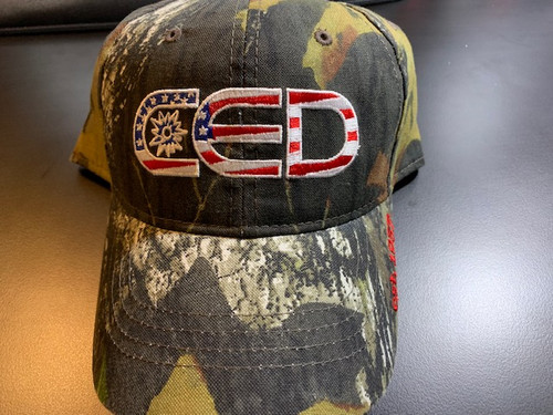 CED Mossy Oak Garment Washed Camo Embroider Flag Hat
