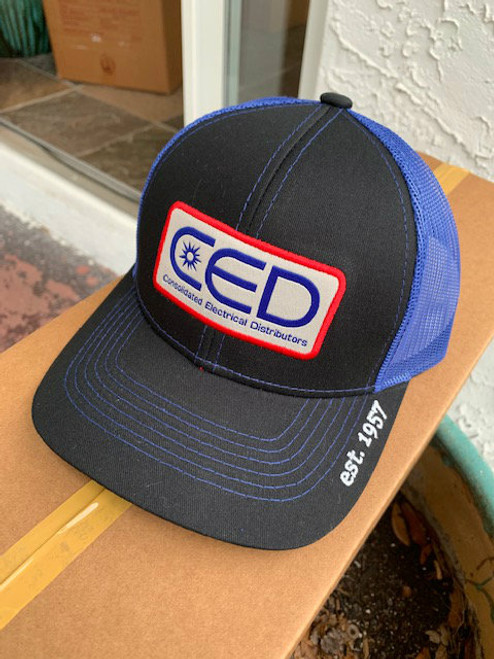 2019 CED Pro Round Crown Black Royal Mesh Patch Hat