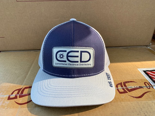 CED  Pro Round Crown Navy Gray Mesh Patch Hat