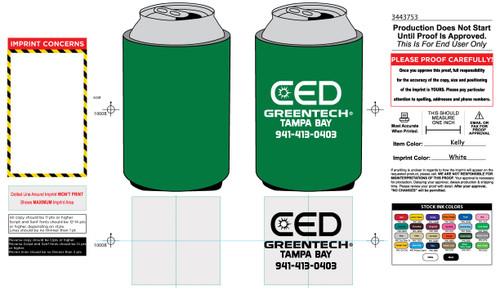 CED Greentech Standard Koozie Example