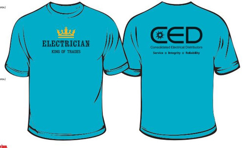 2 Color  Electrician CED Back Print Shirt