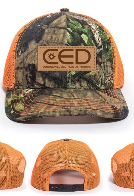 CED Leather Patch Modern Trucker Camo Hat