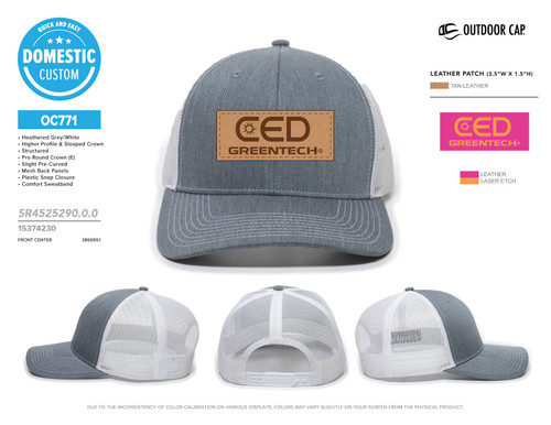 CED Greentech Leather Patch Modern Trucker Hat