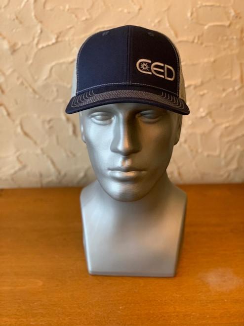 CED Left Panel Navy/Gray Mesh Modern Trucker Hat