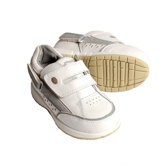 Hatchbacks Freestyle Kids Shoe : White/Gray Leather: sizes 8c-1k
