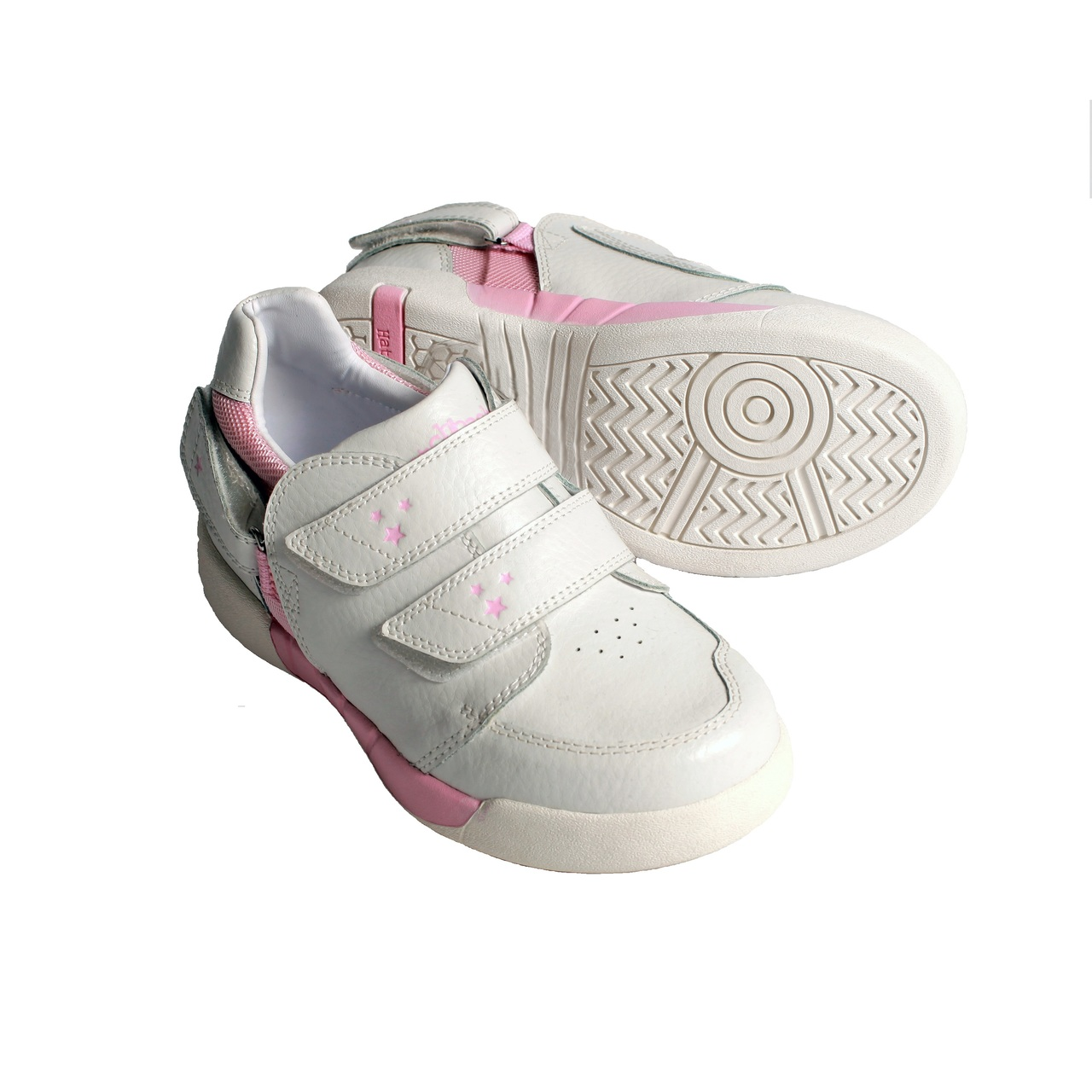Hatchbacks Aspire Kids Shoe   White Leather  Light Pink   Stars Accent   Clearance sizes 5c-3k - Hatchbacks 43a84bed4