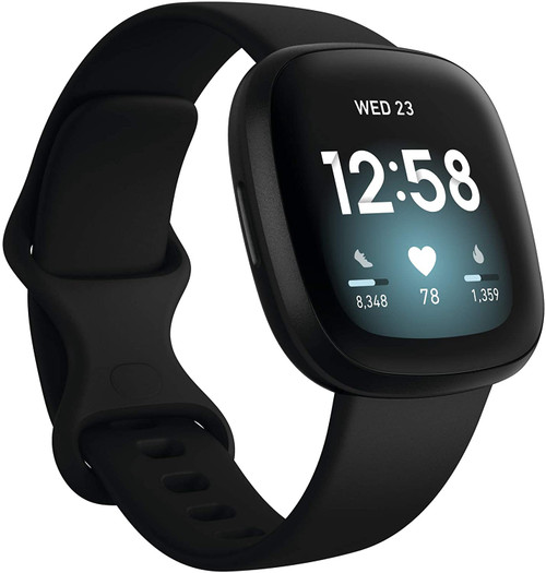 Fitbit Versa 3 Health & Fitness Smartwatch with GPS, 6+ Days Battery, One Size Black