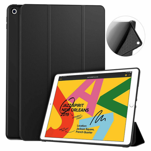 For Apple iPad 7th Gen/8th GEN 10.2 2019 Soft Leather Case Magnetic Smart Cover Black