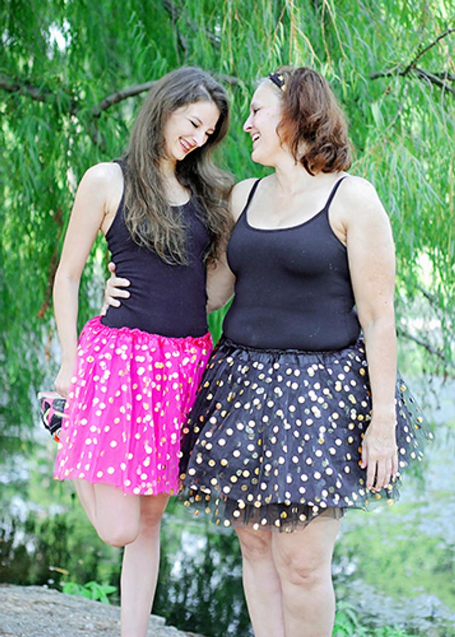 Plus Size Gold Dot Tutu Skirt for Adults (XL-3XL)