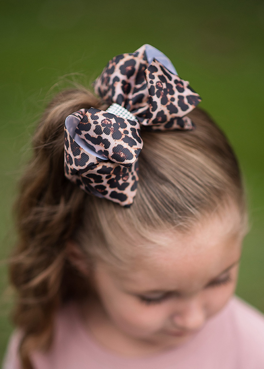"Large Girls Leopard Print Hair Bow Clip  4/"" Bows Accessories New"