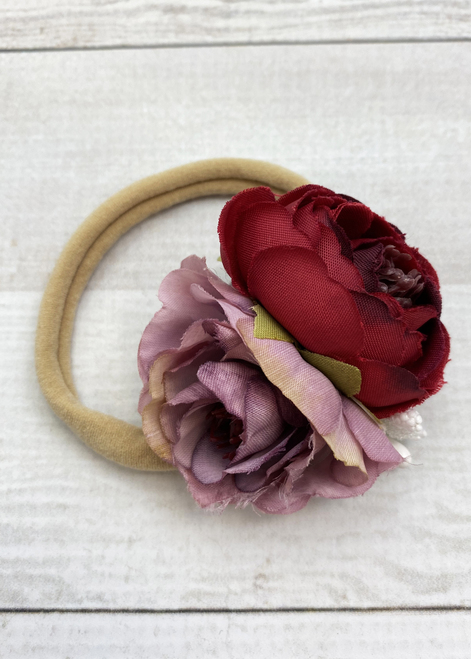 Dark Pink Headband Toddler Pink and Gold Headband All Pink Flowers Newborn