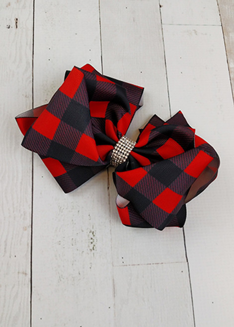 57a6ae4d0991 Red and black buffalo plaid double looped hair bows. These alligator clip  bows are approximately