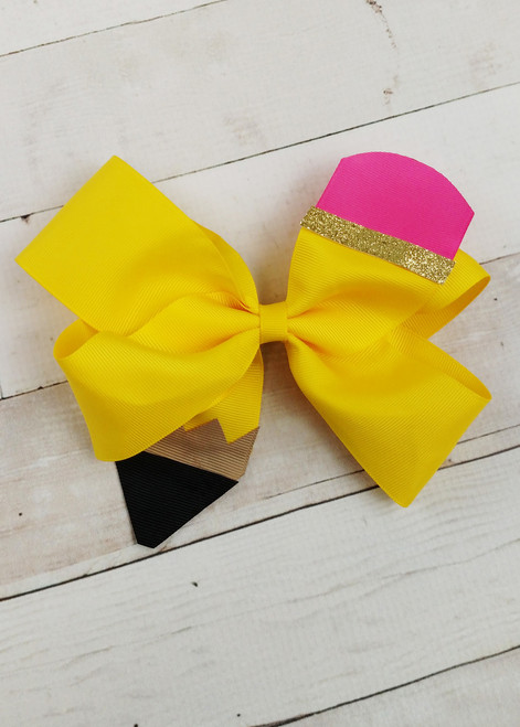 2 Girls Gold//Yellow And Silver Handmade Ribbon School Hair Bows Clips Clasps