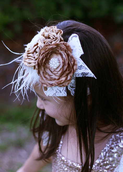 38bc4f19250 Rustic Flowers   Lace Headband
