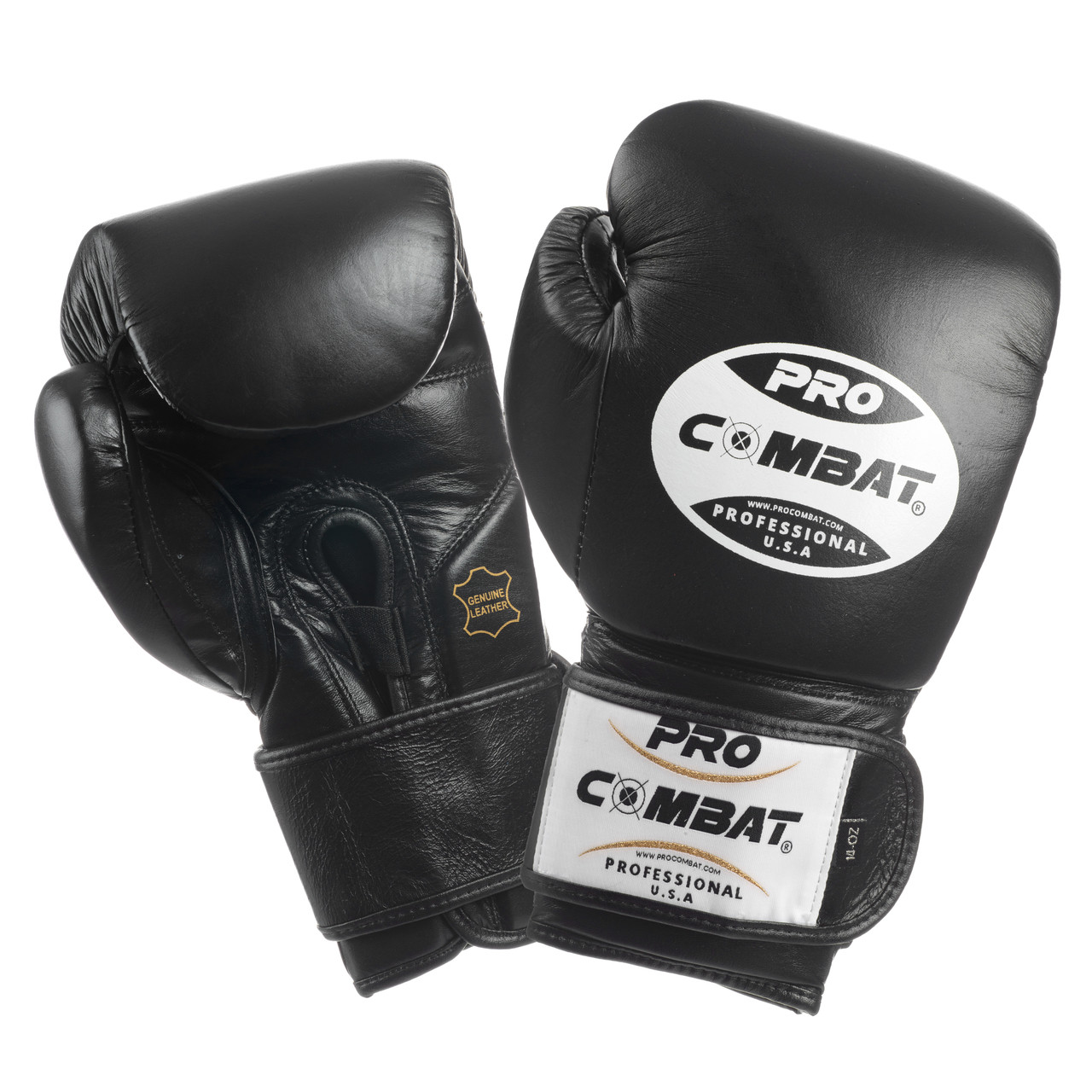 Pro Combat Training Gloves With Velcro Closure Black Color Usa Boxing Equipment