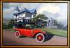 1912 Locomobile Brass Era Motor Car Original Oil Painting