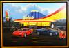 Original Oil Painting by Stan Stokes John's Diner Ferarri / Jaquar Motor Car