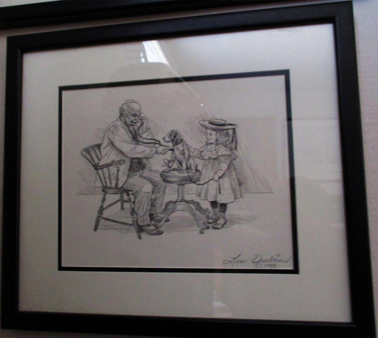 Lee dubin framed original pencil sketch puppys visit doctors office