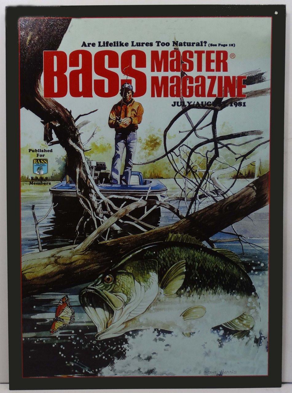 Bass Master Fish Jumping Winter Magazine Issue Fishing Metal Sign