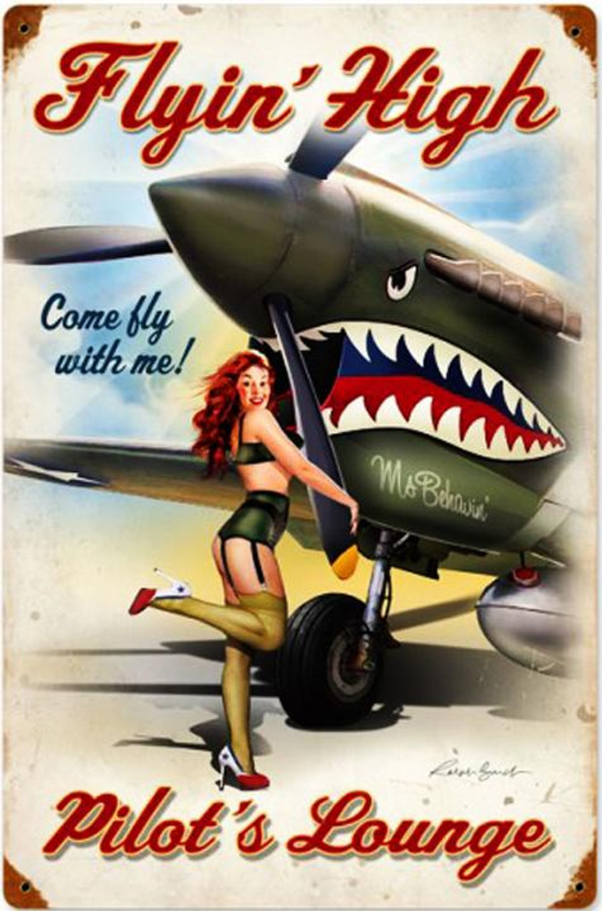 Keep Her Flying Vintaged Metal Sign Hand Made in the USA with American Steel