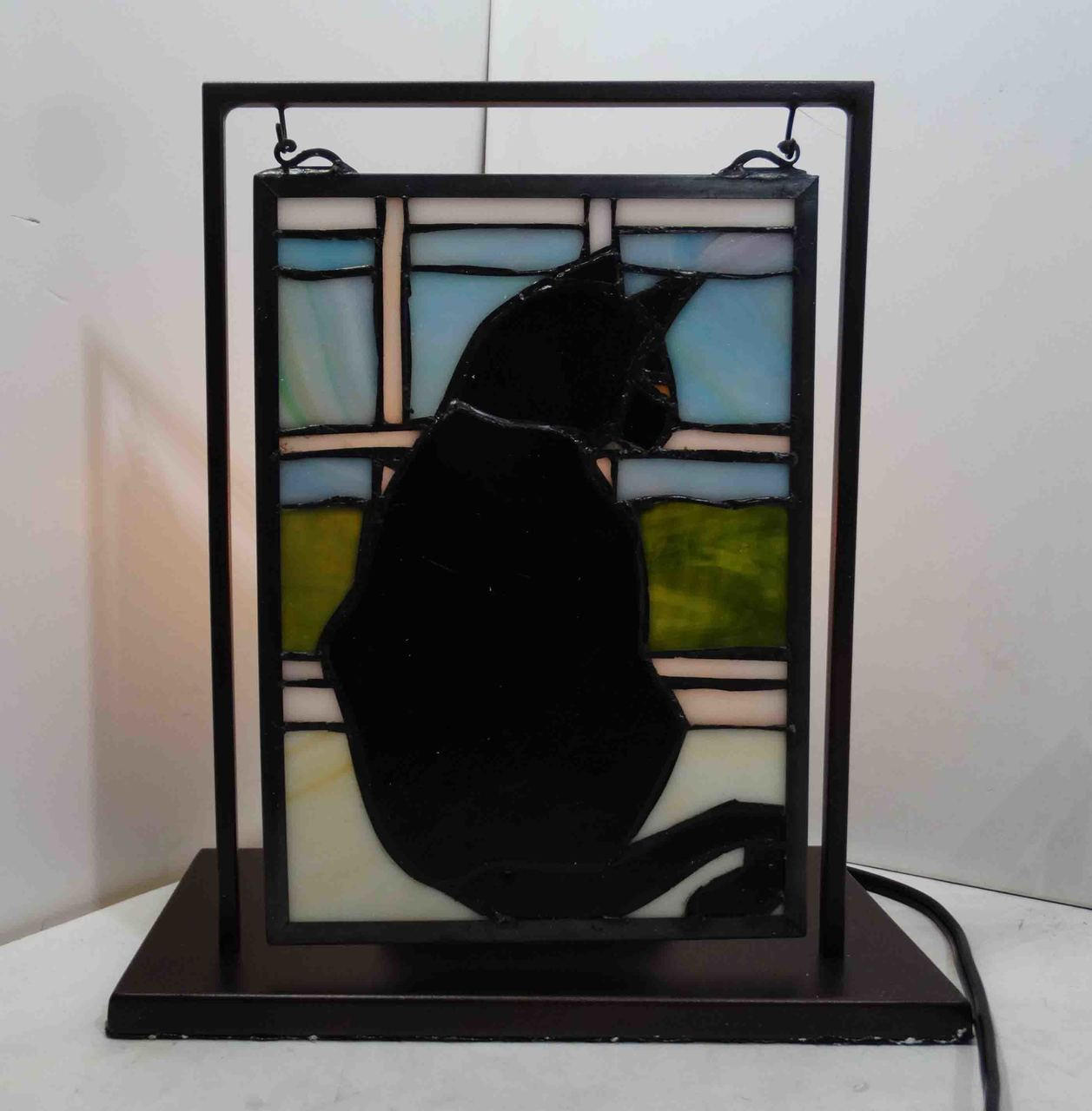 Black Cat Halloween Tabletop Stain Glass Window With Stand American Collectibles