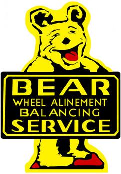 Bear Wheel Alignment Service Plasma Cut Metal Sign