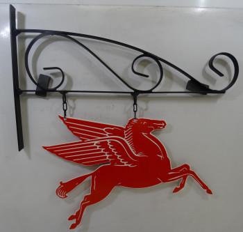 """Mobil Pegasus on Hanger 15"""" Plasma Cut Metal Sign"""