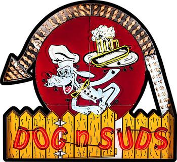 Dog n Suds Restaurant Plasma Cut Metal Sign