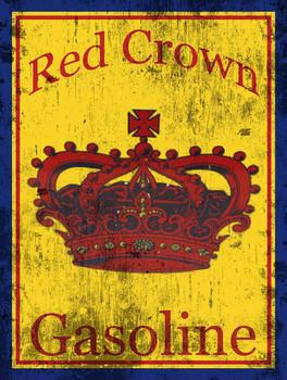 Red Crown Gasoline Distressed Metal Sign