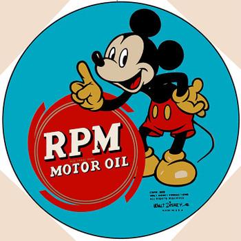 "Mickey RPM Motor Oil 14"" Round"