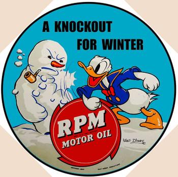 "Donald Duck RPM Motor Oil 14"" Round"