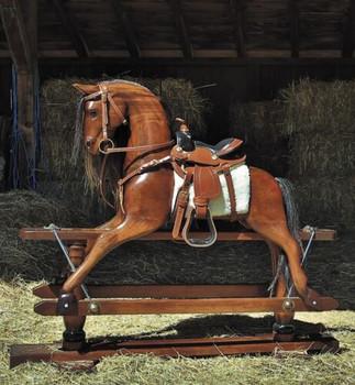 Wood Rocking Horse Western Saddle 19th Century RH006W