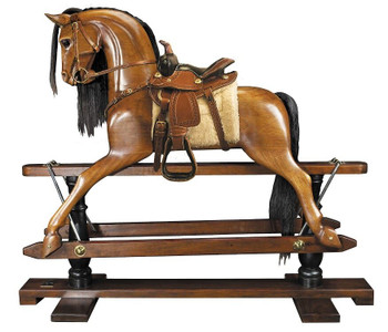 Wood Rocking Horse Western Saddle 19th Century RH006W
