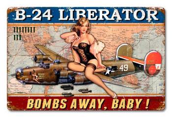 B-24 Liberator Bombs Away Baby Metal Sign