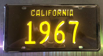 California 1967 Black and Yellow License Plate