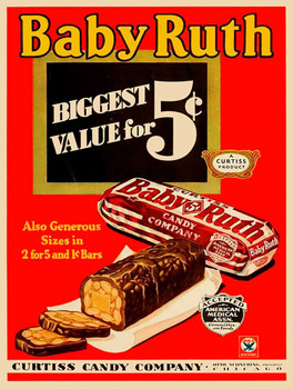 Baby Ruth Candy Bar Metal Sign