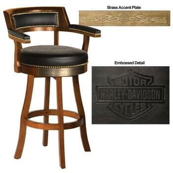 H-D® Bar & Shield Flames Barstool w/Backrest- Heri