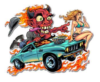 Speed Demon Flaming Hot Rod Plasma Cut Metal Sign