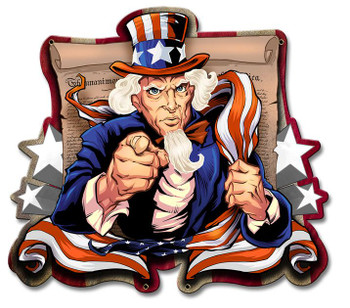 Uncle Sam Plasma Cut Metal Sign