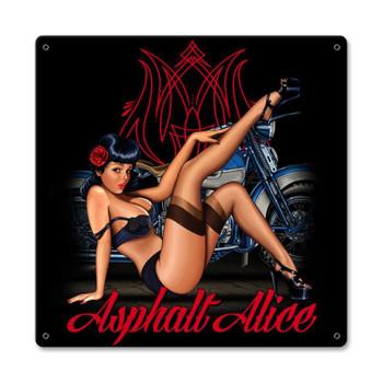Asphalt Alice Metal Sign