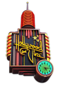 Hollywood and Vine Neon Style Plasma Cut Metal Sign