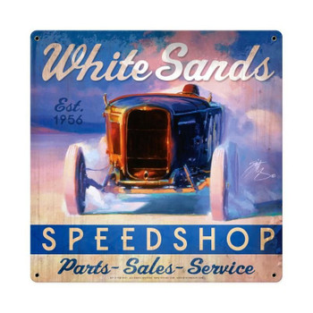 Tom Fritz licensed collection, this White Sands Speed Shop Vintage Metal Sign measures 18 inches by 18 inches.