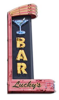 Lucky's Bar Neon Plasma Cut Metal Sign