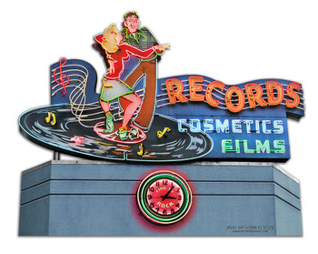1956 Records Cosmetics Films Neon Plasma Cut Metal Sign