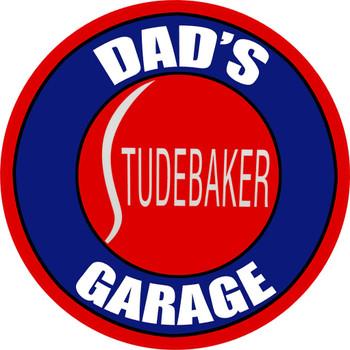 "Dad's Studebaker Garage Metal Sign 14"" Round"