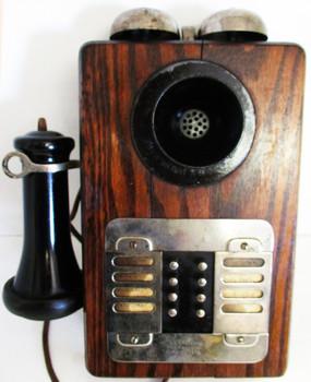 Eight Station Intercom Oak Telephone Circa 1900's