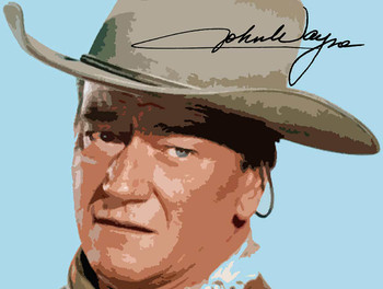 John Wayne Portrait with Signature Metal Sign