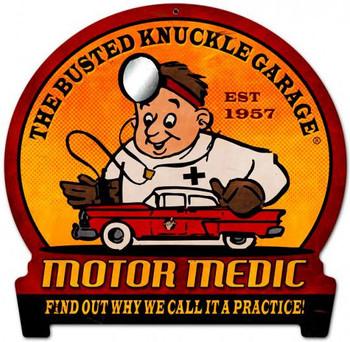 Motor Medic Round Banner Plasma Cut Metal Sign